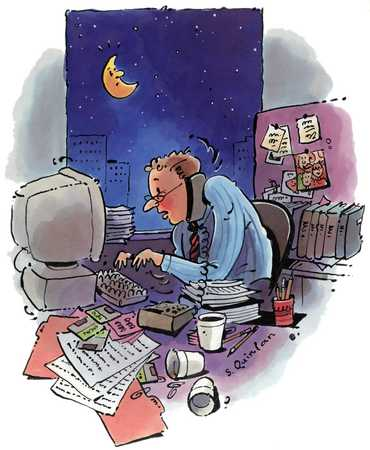 Businessman Working Late Hours