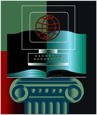 Computer/Open Book/Pedestal