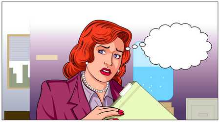 Woman In Office With Speech Bubble