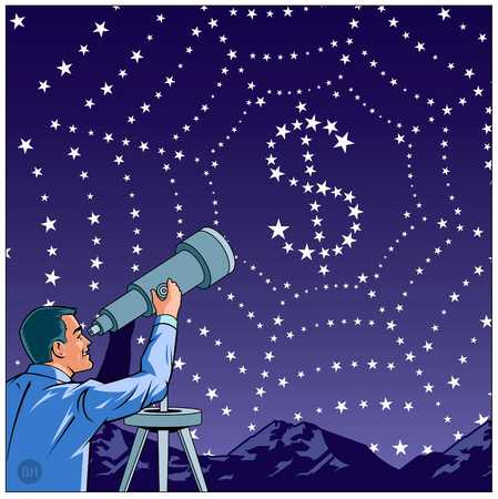 Man With Telescope Looking at stars that represents a dollar sign and spider web