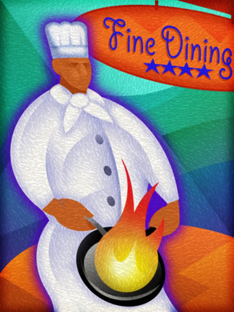 Chef cooking with 'Fine Dining' sign in background