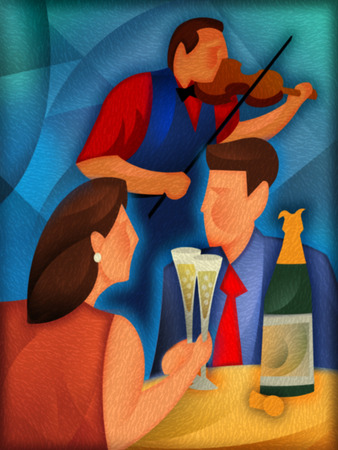 Couple drinking champagne with violinist in background