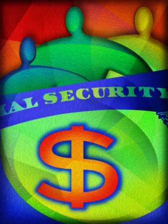 People behind 'Social Security' card and dollar sign