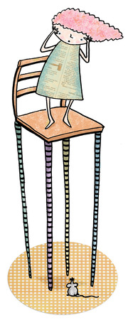 Woman standing on tall chair above mouse