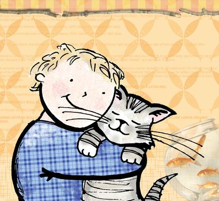 Boy hugging cat near fishbowl