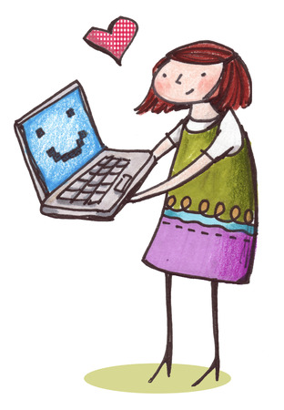 Heart hovering above woman holding smiling laptop