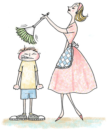 Woman dusting angry boy's head