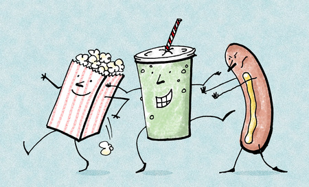Anthropomorphic popcorn, soda, and hot dog