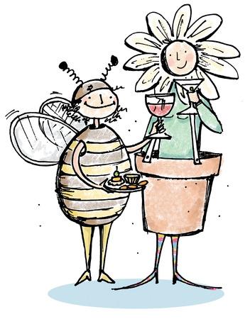 Man dressed as bee toasting woman dressed as flower