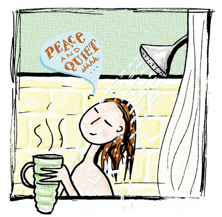 Woman enjoying coffee in shower
