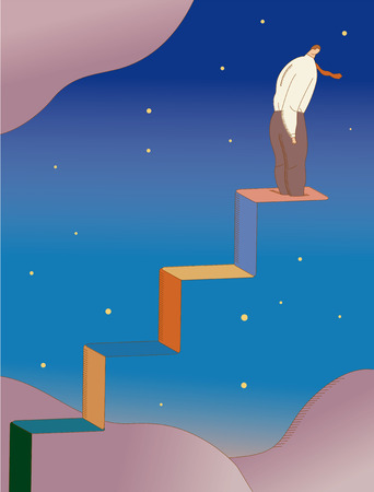 Businessman at edge of steps in sky