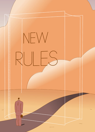Businessman facing transparent 'New Rules' book on path