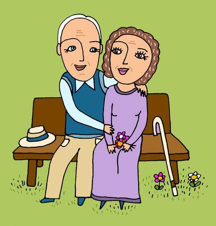 Senior couple hugging on bench