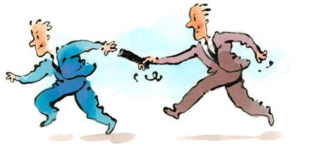 Businessman passing baton off to partner