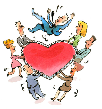 Business people catching businessman on heart-shape net