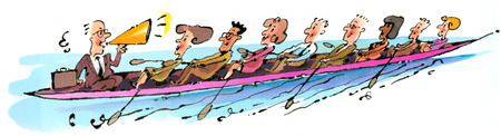 Business people rowing boat