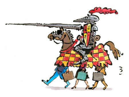 Business people under knight on horse
