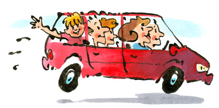Family driving in van