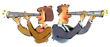 Businessman and businesswoman looking through telescopes