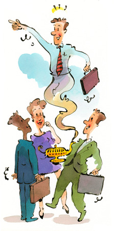 Businessman emerging from genie lamp