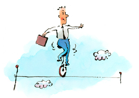Businessman on unicycle balancing on tightrope