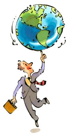Businessman balancing globe on finger