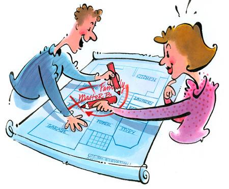 Couple writing on blueprint