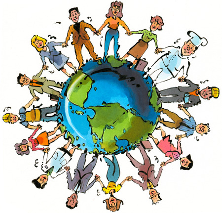 Workers holding hands forming circle around globe