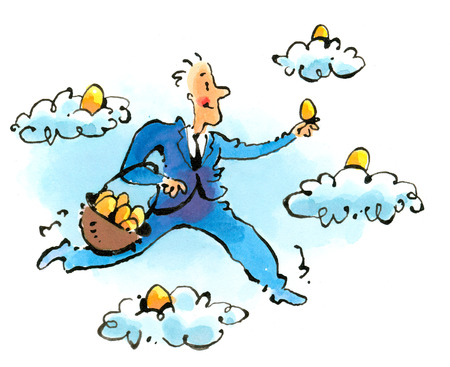 Businessman gathering golden eggs from clouds