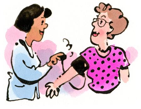 Nurse taking woman's blood pressure