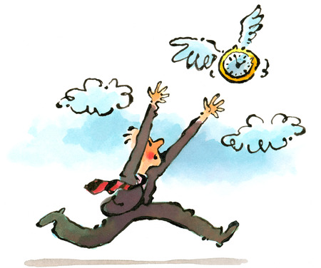 Businessman chasing clock with wings