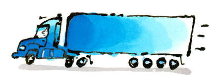 Illustration of semi-truck