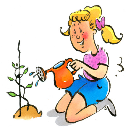 Girl watering sprouting plant