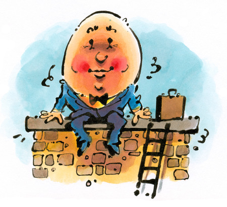 Humpty Dumpty wearing business suit and sitting on wall