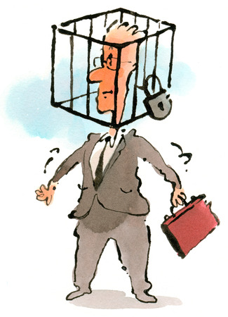 Businessman with padlocked cage over head
