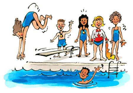 Youth swim team at swimming pool