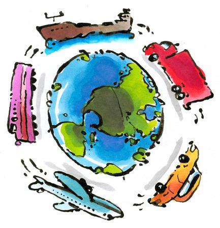 Transportation vehicles circling globe
