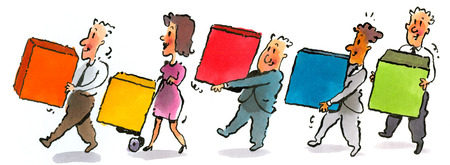 Business people carrying colored blocks