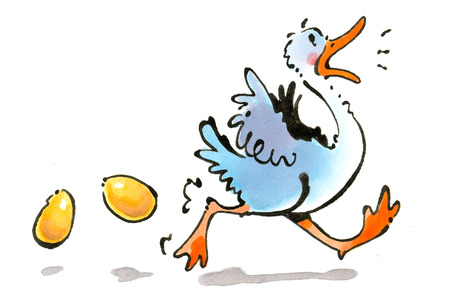 Duck running from golden eggs