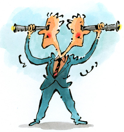 Two-headed businessman looking through telescopes