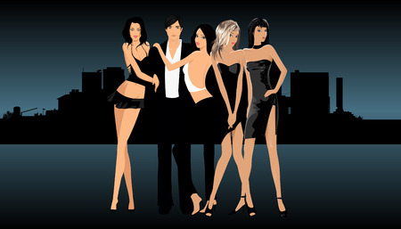 Man and sexy women standing in front of cityscape