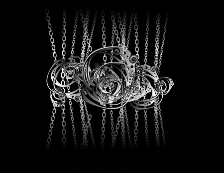 Tangled metal chains