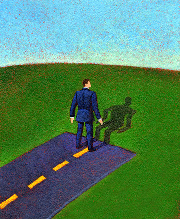 Businessman looking at warped shadow at end of road