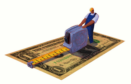 Construction worker measuring large dollar bill with tape measure