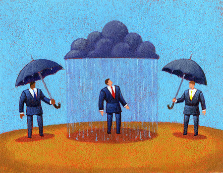 Businessmen with umbrellas next to businessman under rain cloud