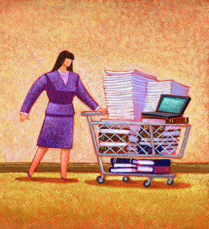 Woman pushing shopping cart with paperwork, books and laptop