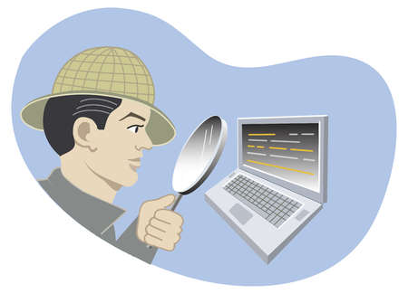 Detective looking at laptop with magnifying glass