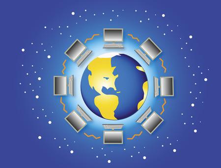 Computers surrounding globe
