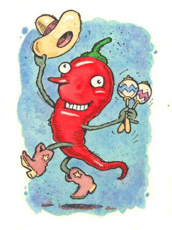Anthropomorphic chili pepper dancing