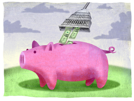 Capitol building sucking money from piggy bank